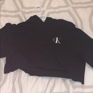 calvin klein cropped black sweater